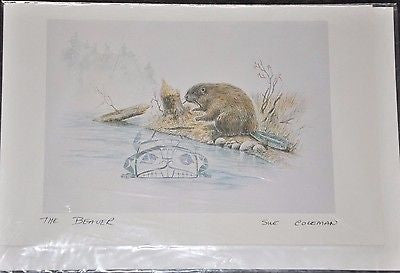 "Large Print Card by Sue Coleman called beaver measuring 9x6"" Printed in Canada"