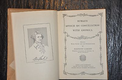 Burke's Conciliation with America 1897 edition Ginn & Co publishers