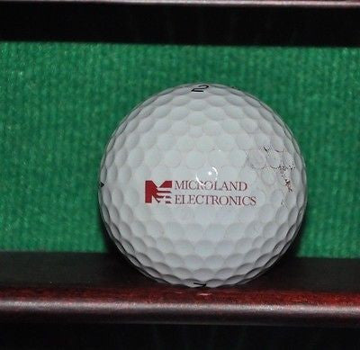 Microland Electronics Hitachi logo golf ball. Titleist Pro V1
