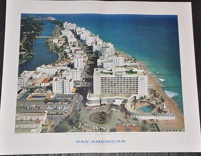 "Pan American Airlines Advertising Poster - Original - 1959 - Miami 16"" x 19"""