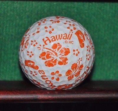 Hawaii Orange Hibiscus logo golf ball.
