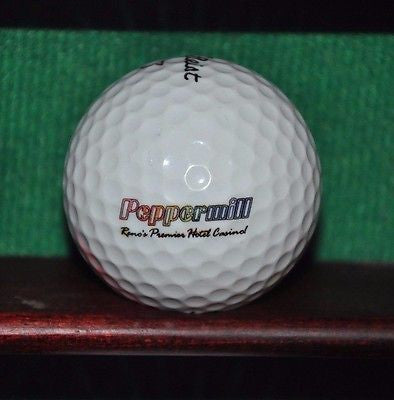 Peppermill Resort Hotel Reno logo golf ball. Titleist