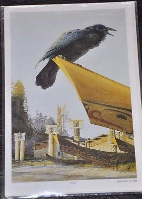 Large Print Card by Gordon Miller of a Raven called Trickster 9x6""