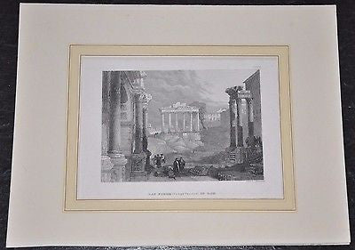 Das Forum (Campo Vaccino) in Rom ~ 1850 Italy Original steel engraving by G Kern