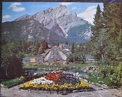 "Vintage 11"" x 14"" Color Print of Banff Town in Banff National Park 1960s"