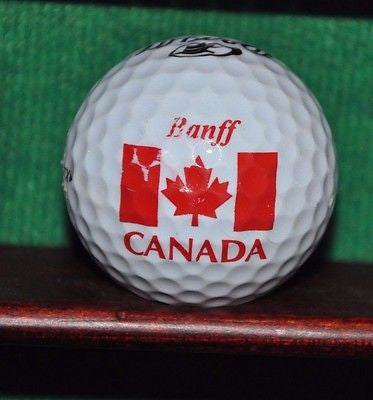 Canada Canadian Flag Maple Leaf Banff logo golf ball.