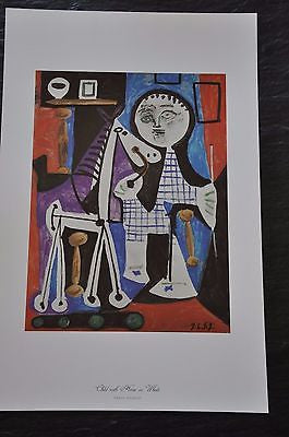 "Child with Horse on Wheels by Pablo Picasso Fine Art Print 17"" x 11"""