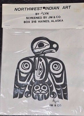 Pacific Northwest Native Print of Eagle on Cotton by Native artist ⅃Lyn 14x14""