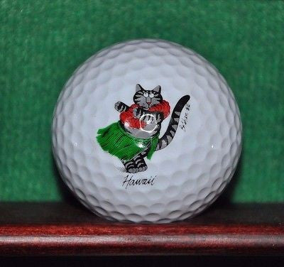Dancing Hula Cat Hawaii logo golf ball. Excellent Condition