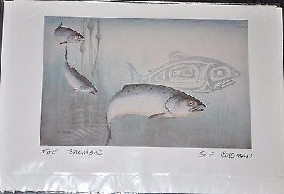 Large Print Card by Sue Coleman called The Salmon measuring 9x6""