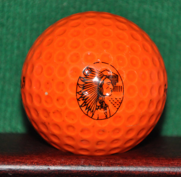 Vintage Native American Indian Chief Logo Golf Ball. Orange