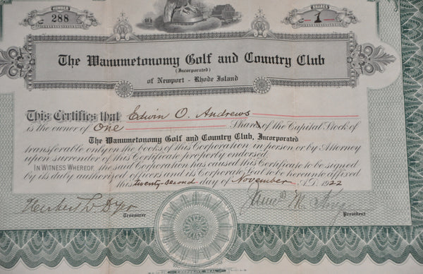 Original Stock Certificate for One Share of Capital Stock of the Wanumetonomy Golf and Country Club, Newport Rhode Island, November 22, 1922.