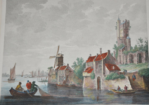 Original Steel Engraving by Sovebac of Jan Van Goyen View of Flanders 1865