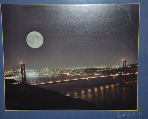 Original Photograph of the Full Moon rising over San Francisco and the Golden Gate Bridge from the Marin Headlands by Mark Reuben 1983