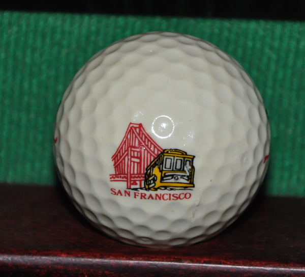Vintage San Francisco Trolley and Golden Gate Bridge Logo Golf Ball