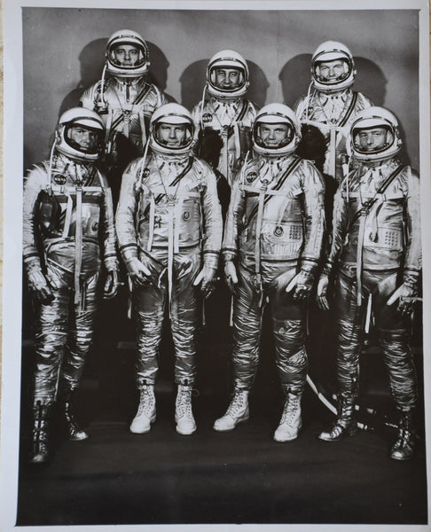 "Original 1959 8"" x 10"" Photo of the Mercury 7 Astronauts. John Glenn, Virgil Grissom, Alan Shepard, Scott Carpenter, Donald Slayton, Walter Schirra, and Gordon Cooper"