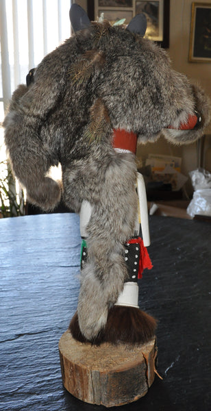 "Wolf Kachina by Raphael Sarracino 16"" Plus Base 1986 Hopi"