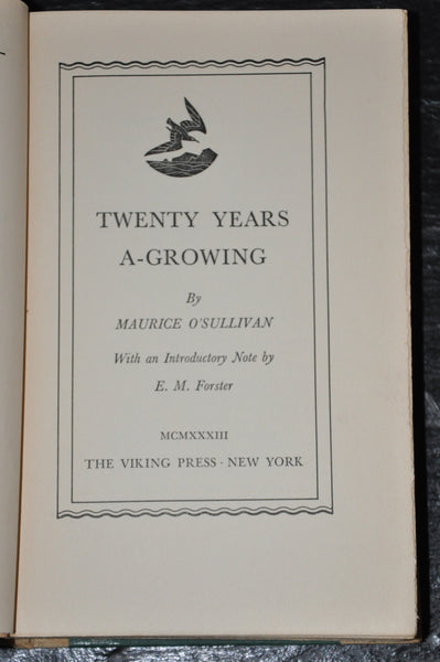 Twenty Years A-Growing by Maurice O'Sullivan 1933 First Edition Second Printing