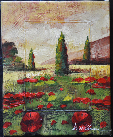 Original Impressionist Painting of Red Poppies and Pine Trees by K Hillman Oil on Canvas