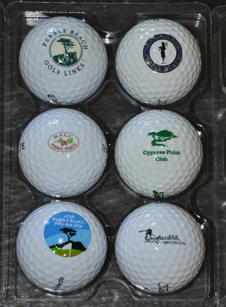 AT&T Pebble Beach Logo Ball Collection (6) Cypress Point, Spanish Bay, Spyglass, Monterey Peninsula Country Club, and Pebble Beach