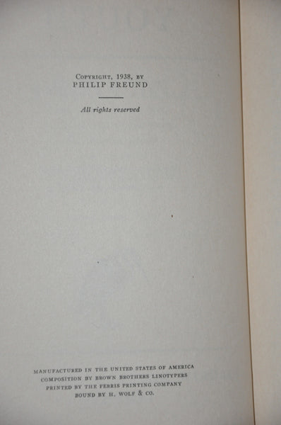 Dreams of Youth by Philip Freund 1938 First Edition. Hardcover with Dust Jacket.