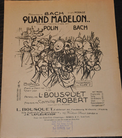 Quand Madelon Sheet Music 1917 French World War I Edition