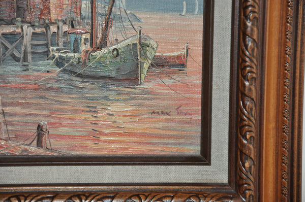 Original Framed Oil on Wood Painting by Max Savy of a Docked Sailboat at Sunrise