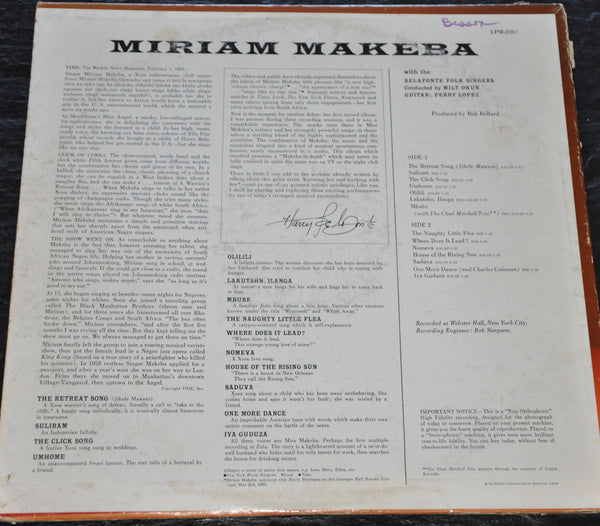 Miriam Makeba Momma Africa LP with the Click Song and More