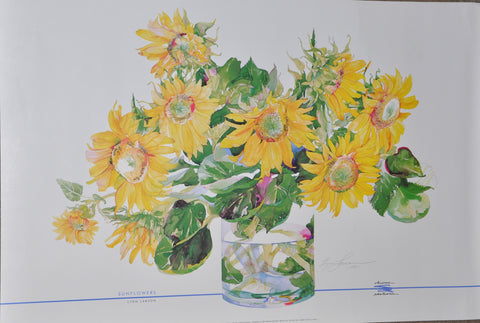 "Lynn Larson Sunflowers Print. Signed. 36"" x 24"" Chroma Edition 1989"