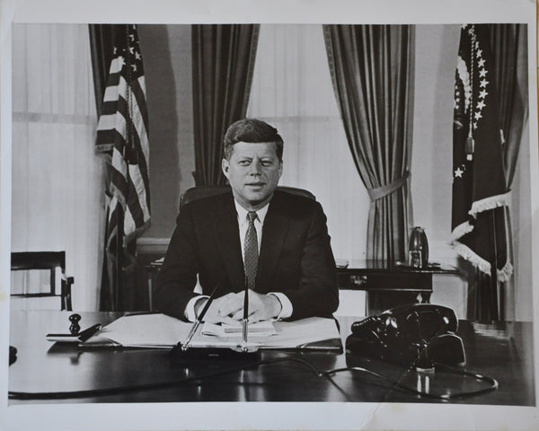 "Original 1961 8"" x 10"" Photo of President John F Kennedy in the Oval Office"