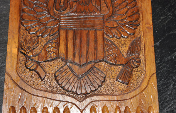 "Vintage Folk Art Wood Carving The Great Seal of the USA E Pluribus Unum 17"" x 13"""