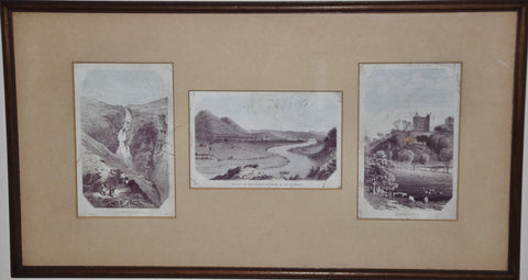 Vintage 19th Century Colored Etchings of Scotland and England Grey Mare's Tail, Valley of the Tweed and Newark Castle
