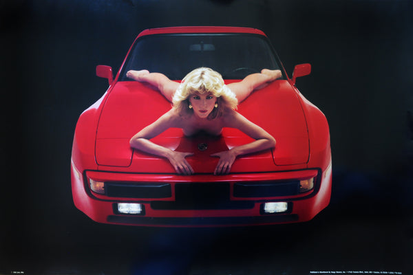 "Original Risque Poster of Red 1982 Porsche 924 with Nude Blonde by Jory Hite 36"" x 24"""