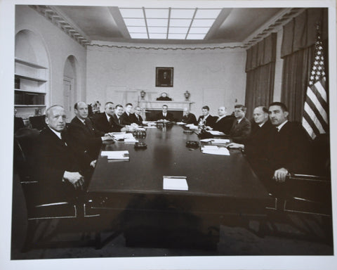 "Original 1962 8"" x 10"" Photo of President John F Kennedy and his Cabinet. LBJ, Bobby Kennedy, Robert McNamara"