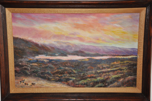 Original Oil Painting of a Cowboy at San Andreas Lake by Claude Temple Hall