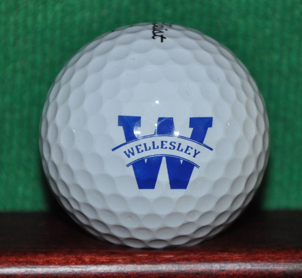 Wellesley College Massachusetts Logo Golf Ball. Titleist Pro V1