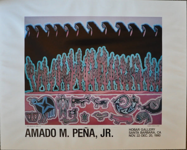 "Original Amado Maurilio Pena Jr. Signed Print 23"" x 28"" Earth Wind & Fire Hobar Gallery Santa Barbara California 1980"