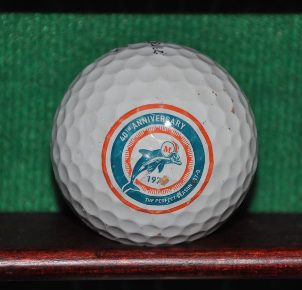 Miami Dolphins 40th Anniversary Perfect Season logo golf ball Titleist Pro V1