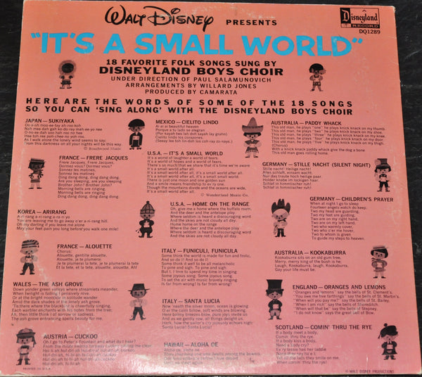Disney It's A Small World 18 Favorite Folk Songs LP by the Disneyland Boys Choir