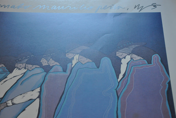 "Original Amado Maurilio Pena Jr. Signed Print 22"" x 34"" PeopleScape Two Danzantes 1980"