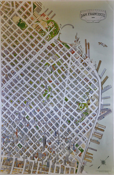 Original Vintage Whimsical Map of San Francisco by Hollmann Publishing 1974