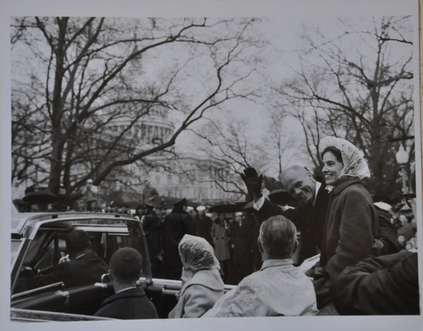 "Original 1962 8"" x 10"" Photograph of Astronaut John Glenn with President Johnson in Motorcade in Washington DC"