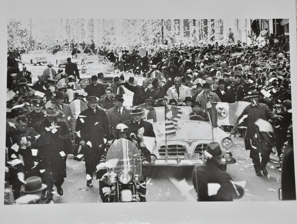 "Original 1962 8"" x 10"" Photograph of Astronaut John Glenn's Ticker Tape Parade in New York with President Lyndon B. Johnson"