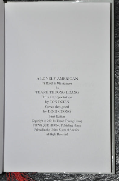 A Lonely American by Thanh Thuong Hoang a Vietnamese Dissident Hardcover with Dust Jacket