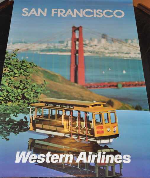 "Vintage Western Airlines Advertising Poster San Francisco 25"" x 39"" Inches"