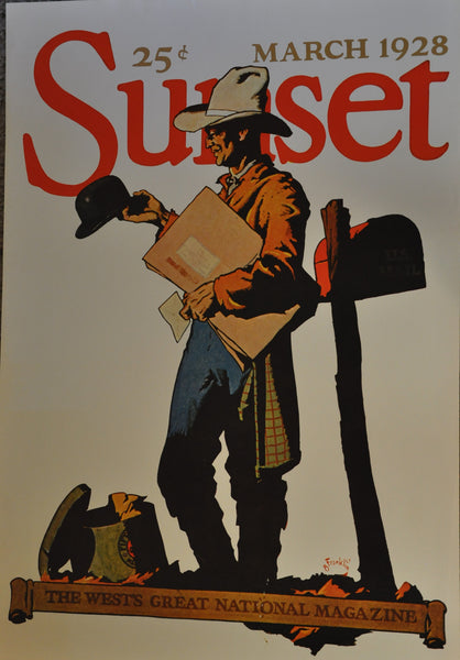 "Sunset Magazine Cover 1928 Cowboy Vintage 1973 Poster B Franklin 29"" x 20"""
