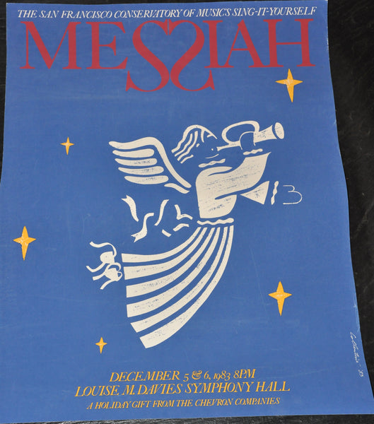 "Original San Francisco Conservatory Messiah Poster 1983 by Collentine 19"" x 25"""