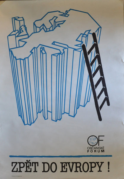 "Original Obcanske Forum Poster From the Velvet Revolution, Czechoslovakia 1989. 33"" x 23"""