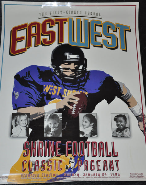 "Original 1993 East West Shrine Game Poster 26"" x 18"" Stanford University"