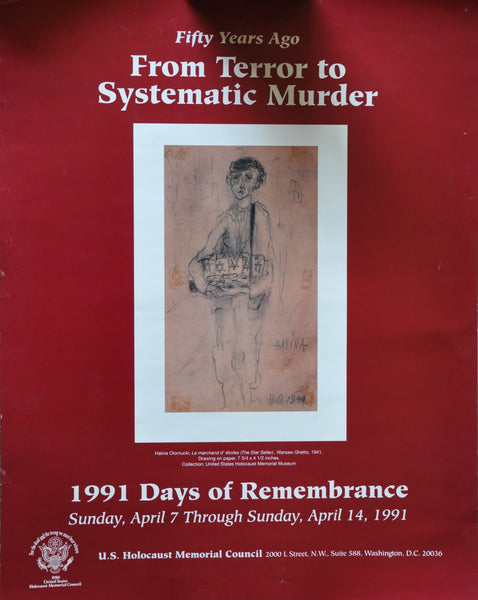 "US Holocaust Memorial Days of Remembrance 1991 Poster 17"" x 22"""